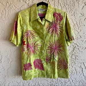 ANAGE Embroidered Flower Short Sleeve Jacket M